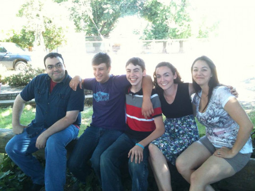 all the cousins, except one. from left: Daniel, my younger brother; my cousin Andy, my brother Matthew, me, my cousin Amy.