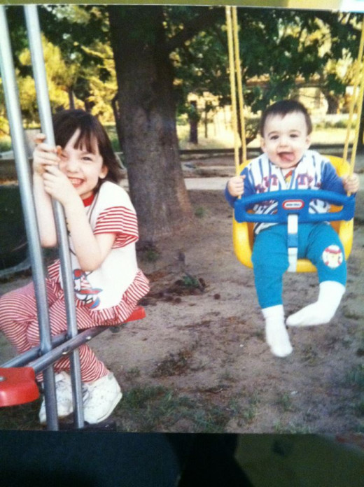 me (left) and Daniel (right). The beginning of our swingset adventures!