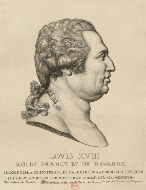 King Louis XVIII, 1814, engraving by Jean-Baptiste Chometon (1789 – after 1831)