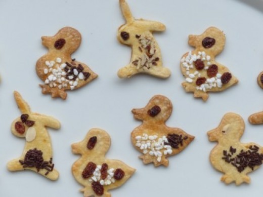 Cute Easter Chick and Bunny Shape Homemade Biscuits