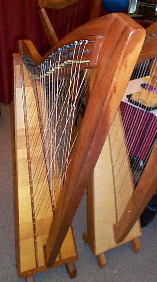This is an example of the Irish harp, a truly beautiful instrument with a magical quality.