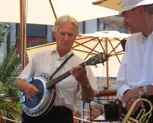 A man playing the banjo.
