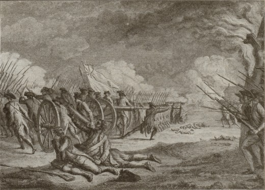 A stylized engraving that inaccurately depicts the Battle of Lexington, 19 April 1775.