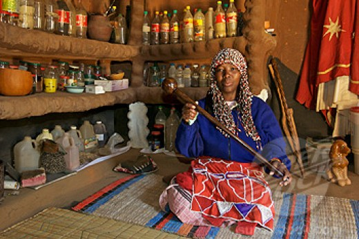 A Sangoma in her Ndumba.
