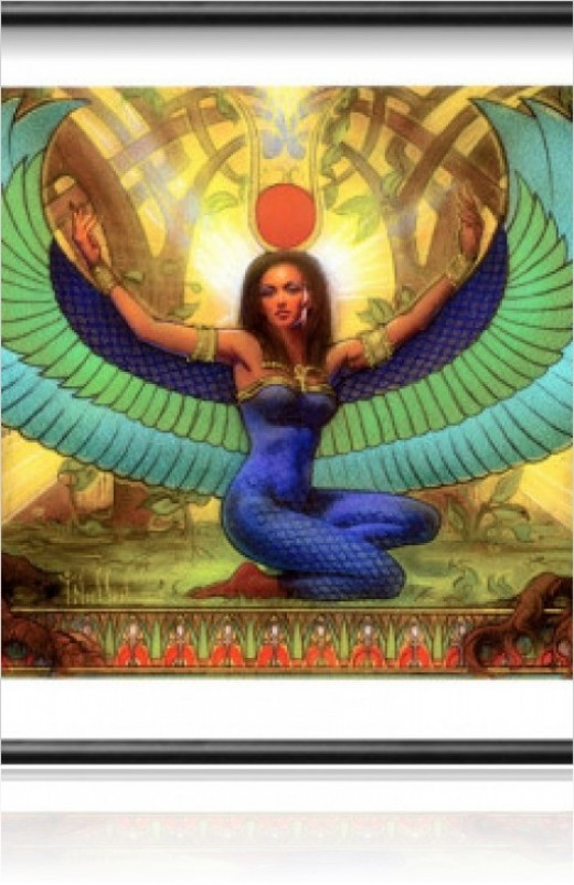 Isis is often portrayed with spread wings.