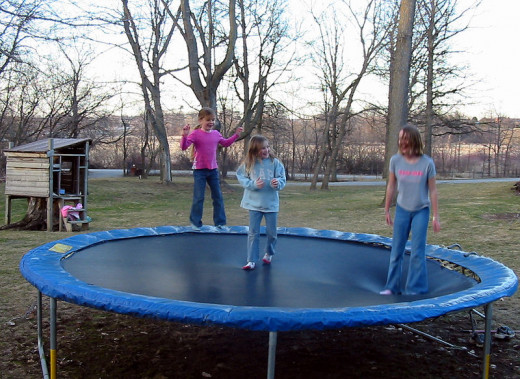 Although great fun, it is much safer for only one child to jump on a trampoline at once
