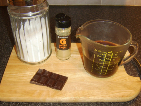 Coffee, chocolate, ginger and sugar for making jelly
