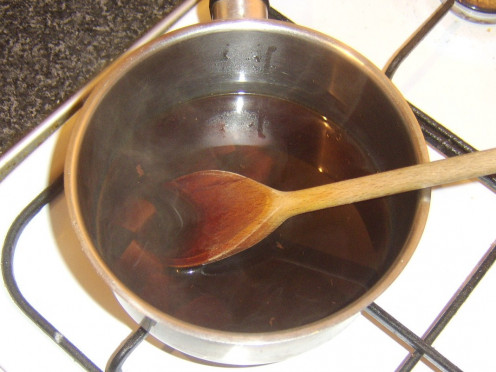 Chocolate is added to sweetened and spiced coffee
