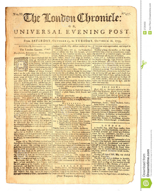 18th century London newspaper.