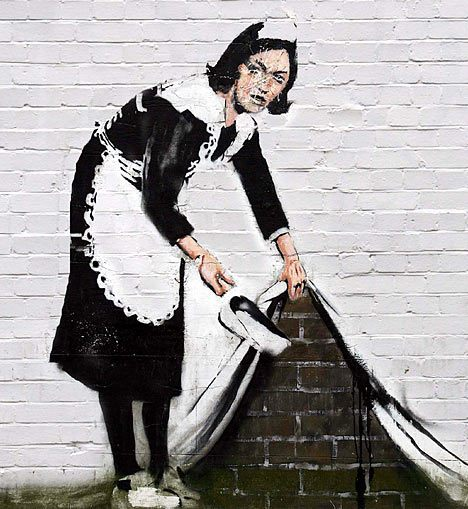 """Banksy"" is a pseudonym for this artist who has created stenciled pieces of street art demonstrating his opinions on the government. He is an England based artist, and this piece may be the most famous street artwork."