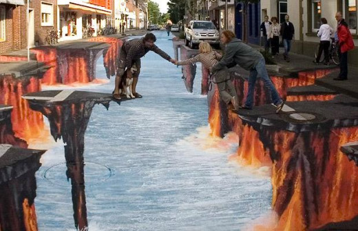 This painting spans 400 meters of the street and shows the optical illusion of drops of rushing water.