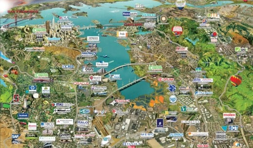 Info-graphic of tech companies in the Bay Area