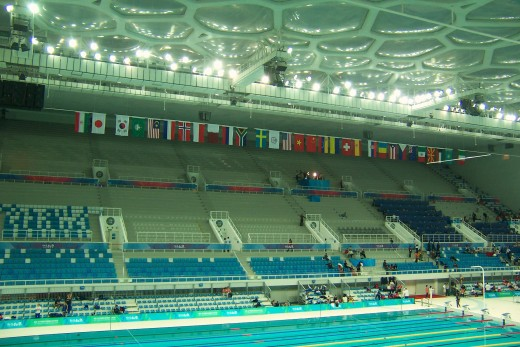 Inside for the inaugural women's diving competition, February 2008