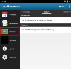 myHomework App: How to Find a Class