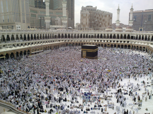 A Last day of Hajj - all pilgrims leaving Mina, many already in Mecca for farewell circumambulation of Kaaba.