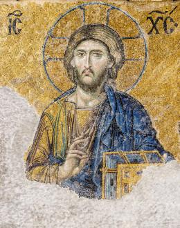 The Christ Pantocrator of the Deesis mosaic (13th-century) in Hagia Sophia (Istanbul, Turkey)