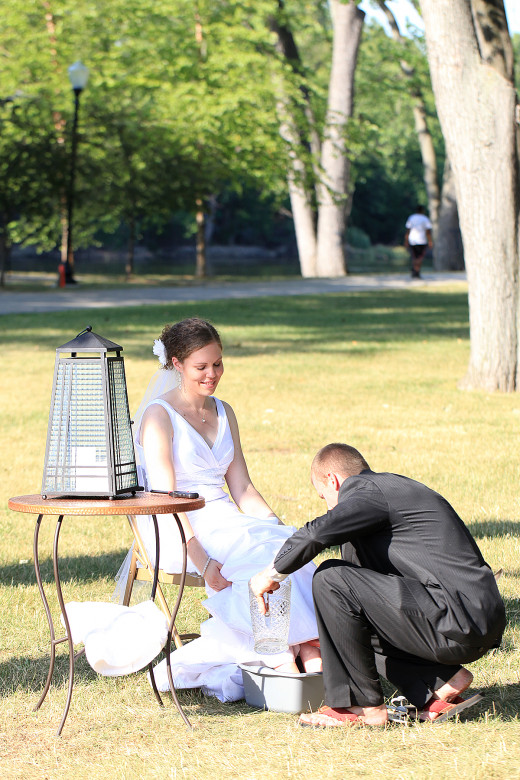We washed each others' feet at our wedding to symbolize our commitment to serve each other.