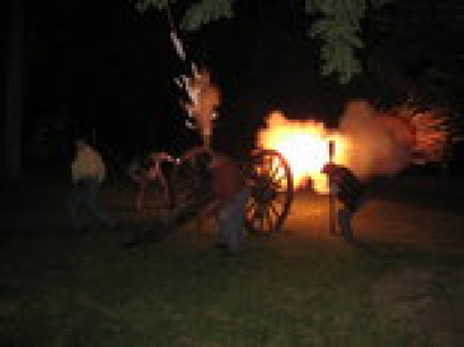 Cannon fire at night