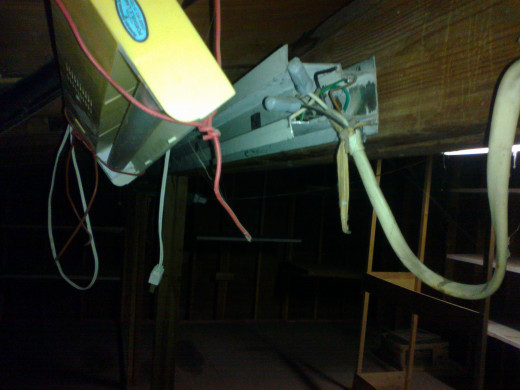 It does not take an expert to see that this electrical wiring is not good. HOWEVER, the building seems sound and there does not appear to be any rotten wood or water leakage. You can expect to see things like this in shops and garages.