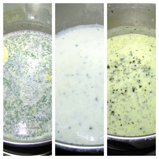 Left: Ingredients for alfredo sauce mixed together in a saucepan. Center: Sauce after it had been cooked per packet instructions. Right: Alfredo sauce mixed with the pesto sauce.