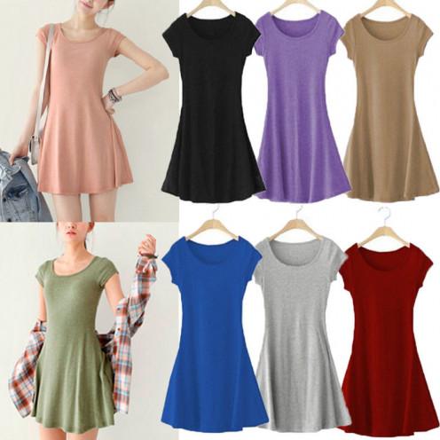 Women Lady Girl Cotton Casual Short Sleeve Summer Sundress Mini Dress