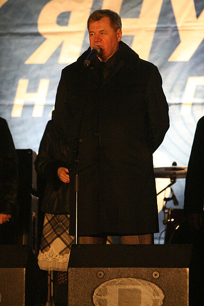 Former Ukrainian President Viktor Yanukovych speaking at a Presidential Rally in 2009.