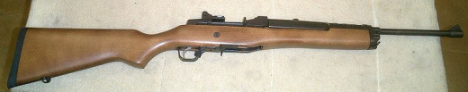 A Ruger Mini-14. Semi-automatic .223 or 5.56mm rifle.