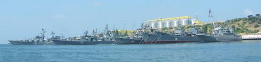 Part of The Black Sea Fleet docked at a naval base in Sevastopol, Ukraine.