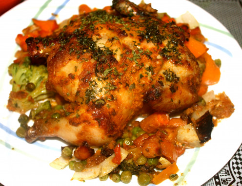 Masala Cornish Hen in a bed of crunchy veggies