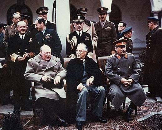 The Yalta summit in February 1945. Sitting in the front row (from left to right) are British Prime Minister Winston Churchhill, American President Franklin Roosevelt and USSR Leader Joseph Stalin