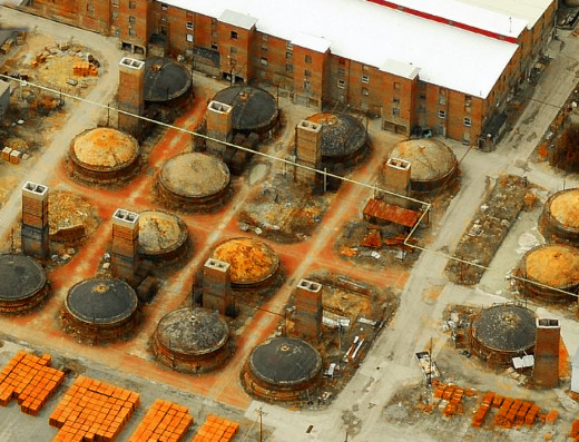 Aerial view of modern clay kilns.