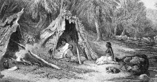 A 19th century engraving of an Indigenous Australian encampment, showing the indigenous lifestyle in the cooler parts of Australia at the time of European settlement.