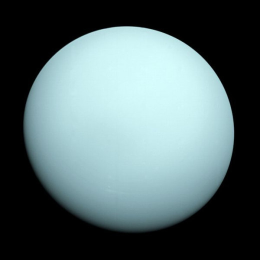 The planet Uranus, a picture taken by the spacecraft Voyager 2 in 1986.