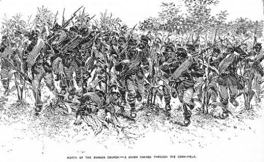 Sketch - troops charge, through a cornfield, at the right-shoulder shift