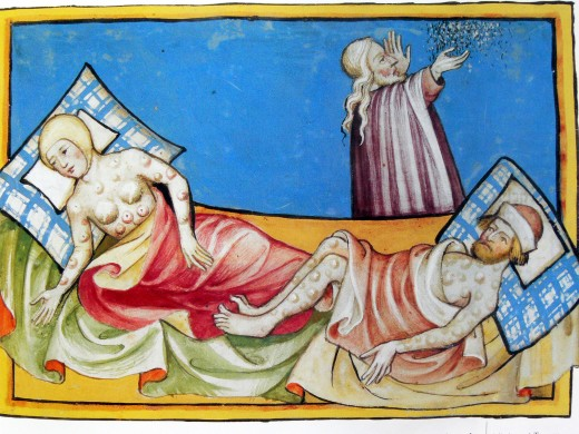 A Miniature out of the Toggenburg Bible (Switzerland) of 1411; depicting victims of the Black Death.