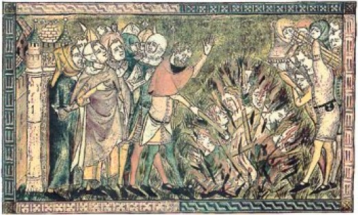 A drawing circa 1375 of the 2000 Jews of Strasbourg being burned to death over a pit on Feb. 14, 1349 in the Strasbourg Massacre during the Black Death persecutions.