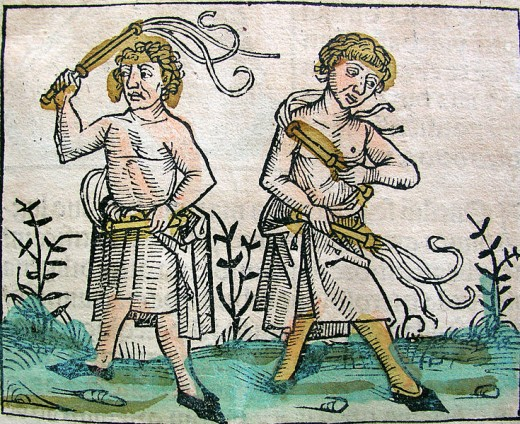 Illustration from the Nuremberg Chronicle, by Hartmann Schedel (1440-1514), depicting flagellants whipping themselves in penance.