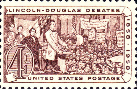 Postage commemorating the Licoln-Douglas debates.