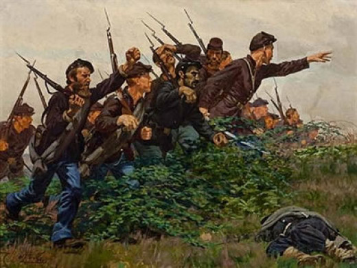 Painting - Union troops rush into combat