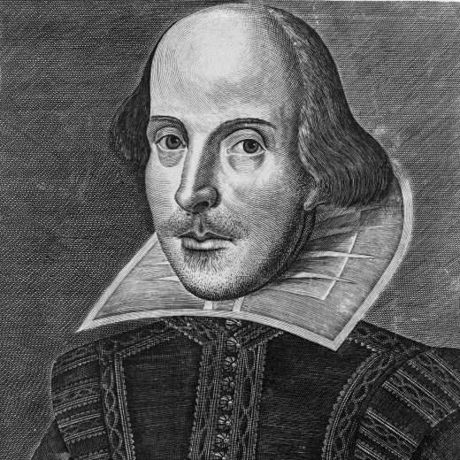 William Shakespeare; copper engraving of Shakespeare by Martin Droeshout