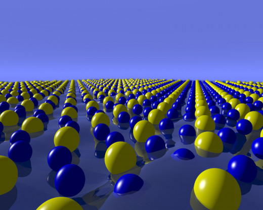 Gold (yellow) and silicon (blue) atoms in a liquid gold-silicon eutectic alloy.