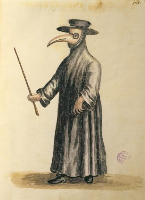 Note that these masks were not present during the Black Death; they came into use during the later plague outbreaks in the 15th and 16th centuries.