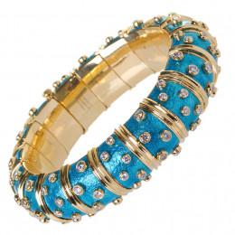 Schlumberger diamond and blue enamel wide bangle