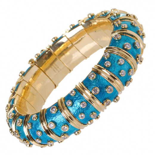 Schlumberger diamond and blue enamel wide bangle