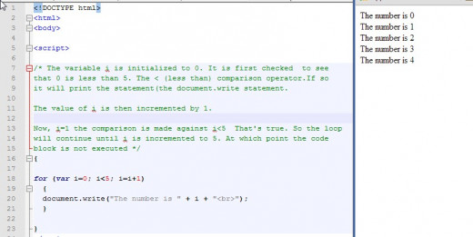 A simple for loop. The variable is initialized to 0. The loop will continue printing the statement until i=5.