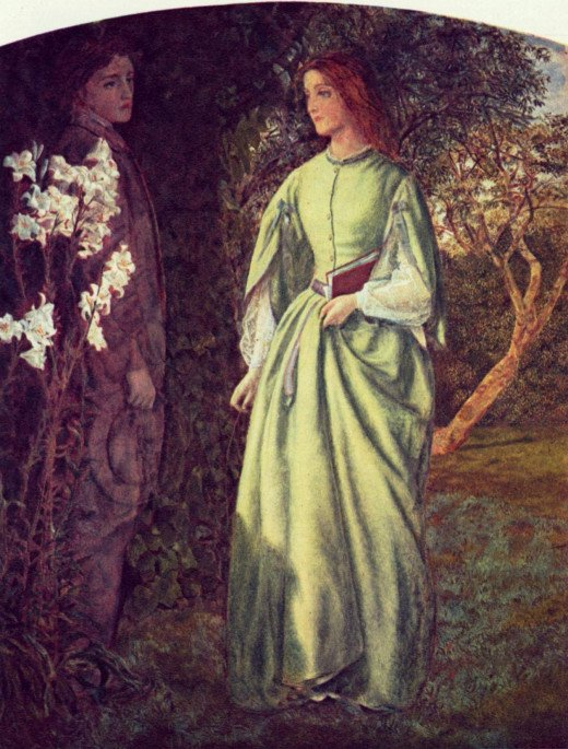 "Aurora Leigh's Dismissal of Romney (""The Tryst"") by Arthur Hughes"