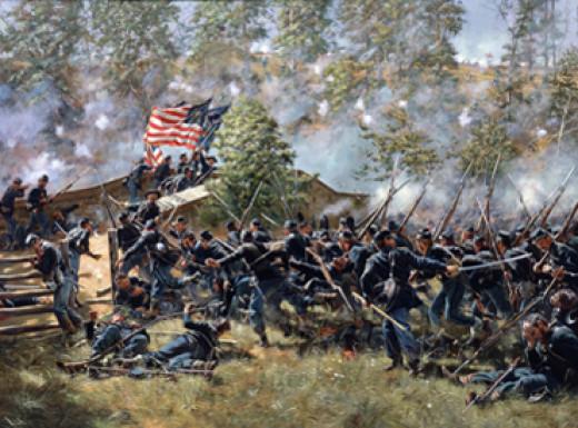 Painting - Union troops cross a bridge under fire