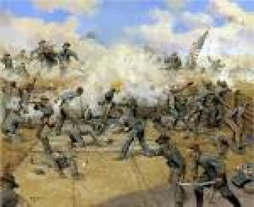Painting - Union troops about to overrun an enemy fortification