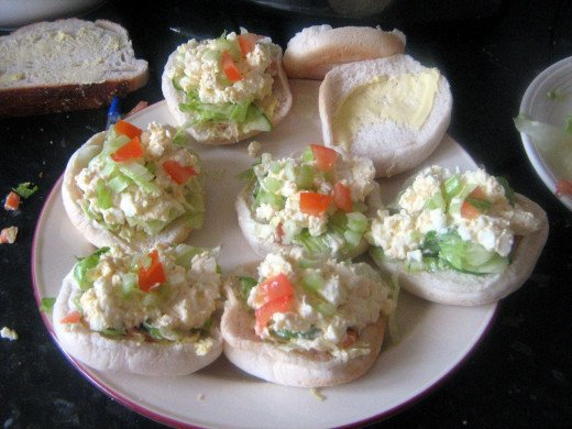 Small Salad Rollswith Egg Mayonnaise and Lettuce