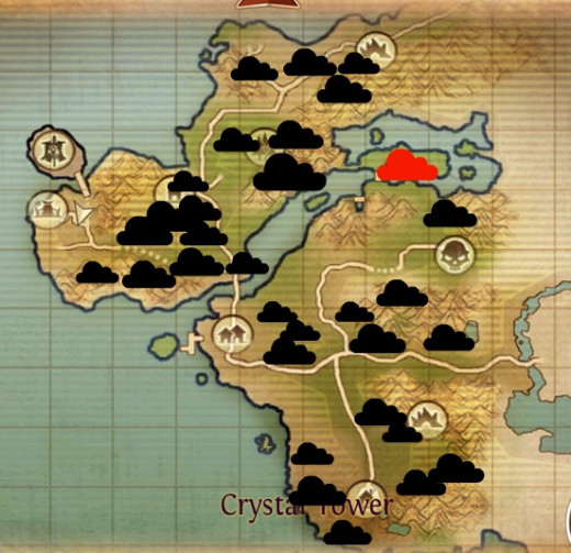 Tear coast ore map. The larger the cloud, the more ore in the area. The red cloud is ore in areas with high level epics, so be careful up there.